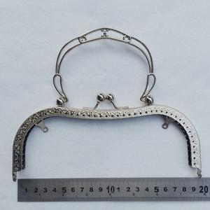 Image 1 - 19,5 см, большой размер, винтажный узор, резной женский кошелек «сделай сам», рамка, женская сумка, металлическая застежка, металлические аксессуары, 3 шт.
