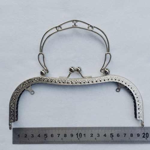 19.5cm Big Size Vintage Pattern Carved Women DIY Purse Frame Bronze Silver Color Female Bag Metal Clasp Hardware Accesories 3pcs