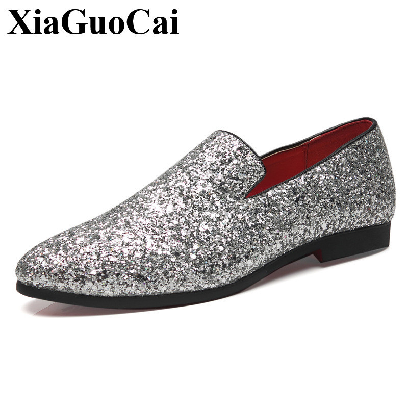 Plus Size Men Shoes Leather Loafers Men Casual Shoes Black Slip-on Pointed Toe Flat Shoes Bling Fashion Comfotable Shoes H532 35 2017 summer new fashion sexy lace ladies flats shoes womens pointed toe shallow flats shoes black slip on casual loafers t033109