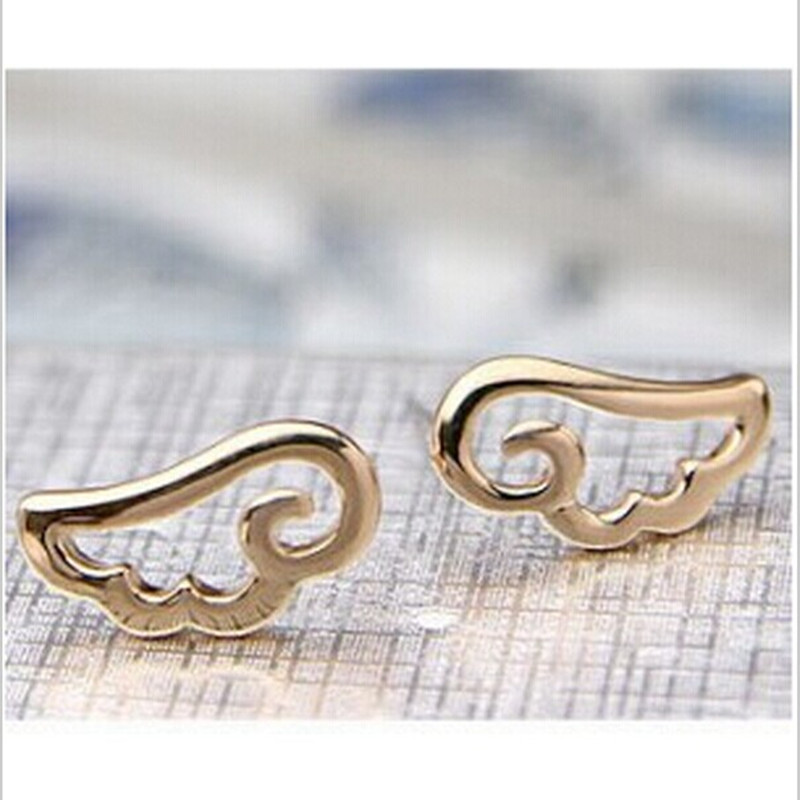 CED132 Womens Fashion Lovely Special Simple Hollow Angel Wings Stud Earrings Female