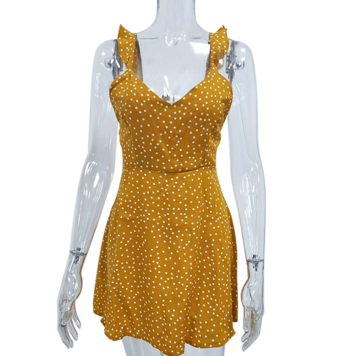 Women Dresses Summer 2019 Sexy Dress Ladies High Waist Dot Printing Mini Dresses Vestidos Back Lacing Straps Backless Dress 5
