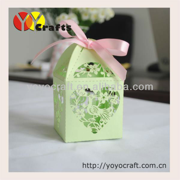 Painted Couple Peacock Wedding Gifts Unique Delicate Home: Paper Laser Cut Cute Green Peacock Wedding Sugar Box