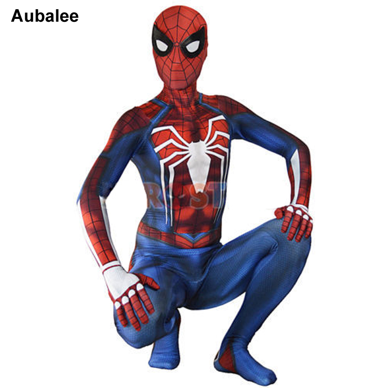 New PS4 Insomniac Spiderman Zentai Suit Movie Game Spider-Man Fighting Costume Party Adult Superhero Cosplay Bodysuit Aubalee movie spider man homecoming costume adult spiderman cosplay costume halloween cool superhero spandex zentai suit aubalee