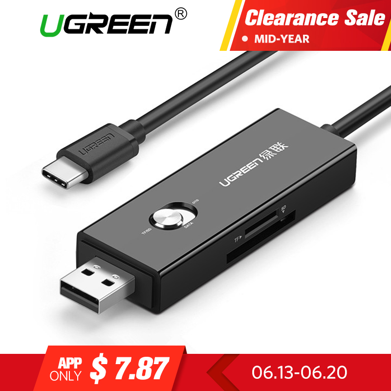 Ugreen Micro USB Type C Card Reader Mini T-Flash TF SD Memory OTG Card Reader for Mobile Phone Tablet PC Mini USB C Card Reader mini usb 2 0 tf nano micro sd sdhc sdxc memory card reader writer usb flash drive memory card readers