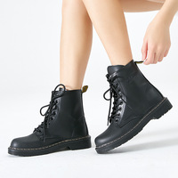 Winter New Women Martins Boots Motorcyle Boot Lace Up Ankle Femme Booties Womens Leather Boots Doc Martin High Top Footwear
