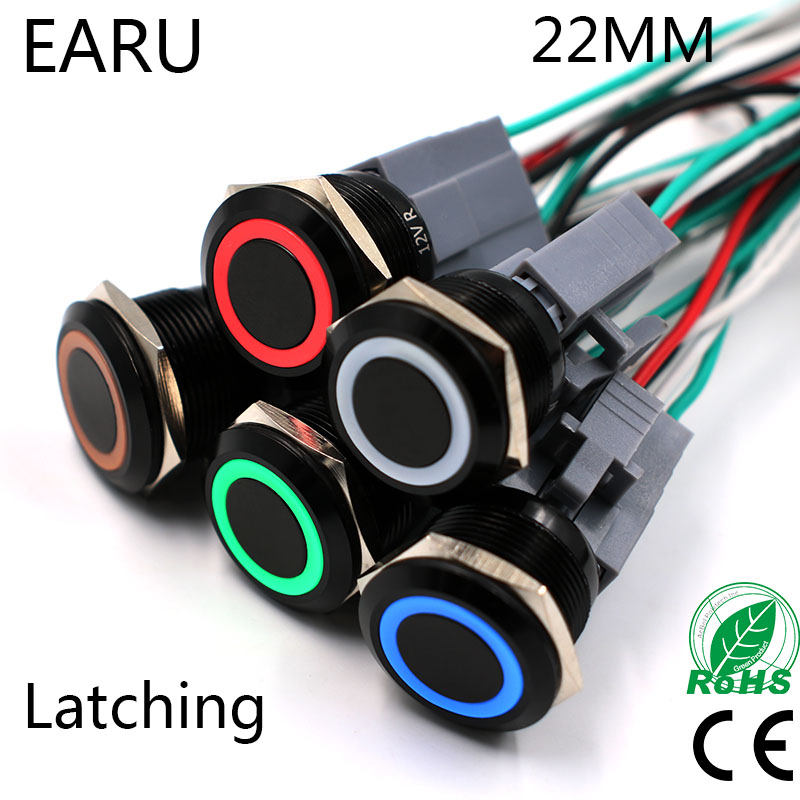 22mm Black Latching Fixation Type Metal Stainless Steel Waterproof Horn LED Push Button Switch Car Auto Engine Start PC Power kcd1 opening 20 mm 105 type switch 3 feet and become warped board power switch black circular form