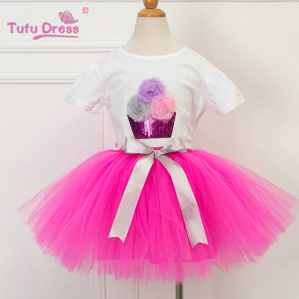 New 2017 Summer Girls Dress Clothing Sets Fashion Cotton Short Sleeve T-shirt+Tulle Skirts Children Kids Girl Clothes 2pcs Set