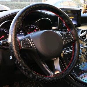 Image 2 - Tampa para volante de carro em couro genuíno, padrão de pele de cobra envoltório volante de carro trança com agulha e rosca