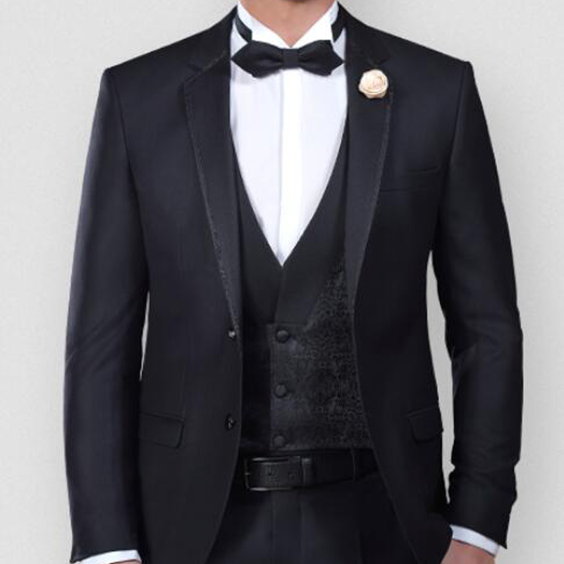 3 Piece Slim Fit Men Suits For Prom Party Notched Lapel Wedding Groom Tuxedos Custom Made Jacket Pants Vest Male Set