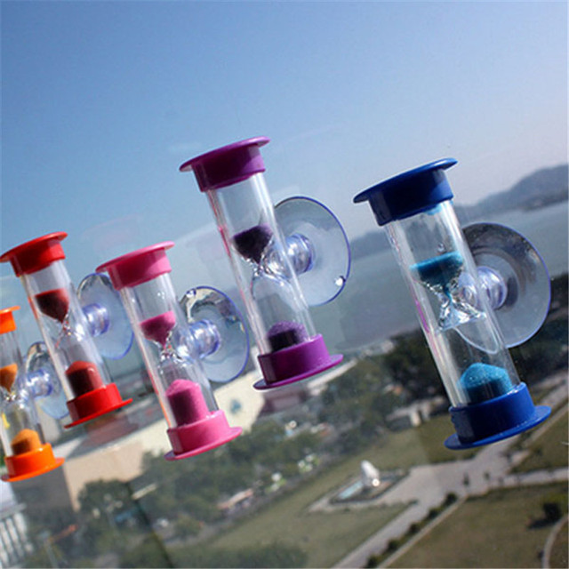 3 minute Sand Timer Hourglass With Sucker Mount Tooth Brushing Children Toy Xmas Gift Hourglass PO4