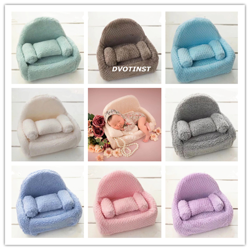 Dvotinst Baby Photography Props Newborn Posing Mini Sofa Chair+Pillow Set Fotografia Accessories Infant Studio Shoot Photo Props