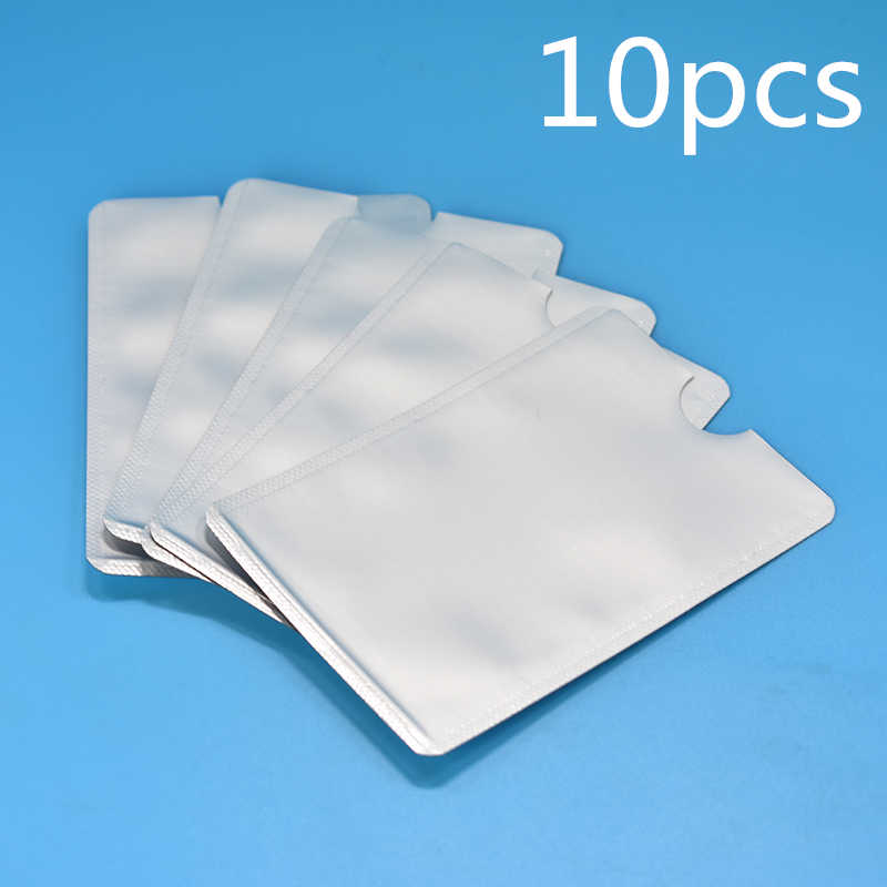10pcs Silver Anti Scan RFID Sleeve Protector Credit ID Card Aluminum Foil Holder Anti-Scan Card Sleeve Security Protection Kits