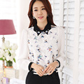 2016 spring and autumn new women Slim Korean fashion trend bottoming shirt printing chiffon long-sleeved white shirt female