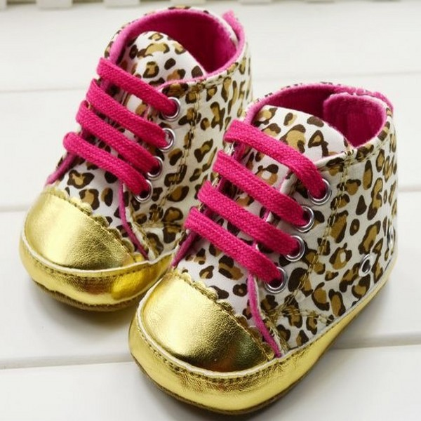 New Baby Girl Infant Toddler Leopard Gold Crib Shoes First Walker Sneaker Size 11 12 13 P1