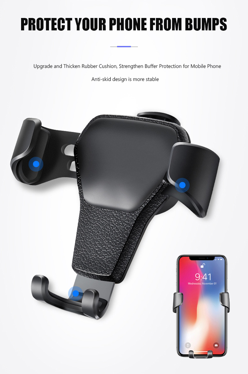 KCAR1017_12_Universal Car Phone Holder For Phone In Car Air Vent Mount Stand No Magnetic Mobile Holder Gravity Bracket for iPhone XS XR Huawei
