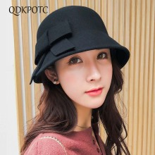 цены на QDKPOTC 2018 New Fashion Autumn Winter Vintage Woolen Fedoras Elegant Cute Bucket Hat Women Butterfly Literature And Art Cap  в интернет-магазинах