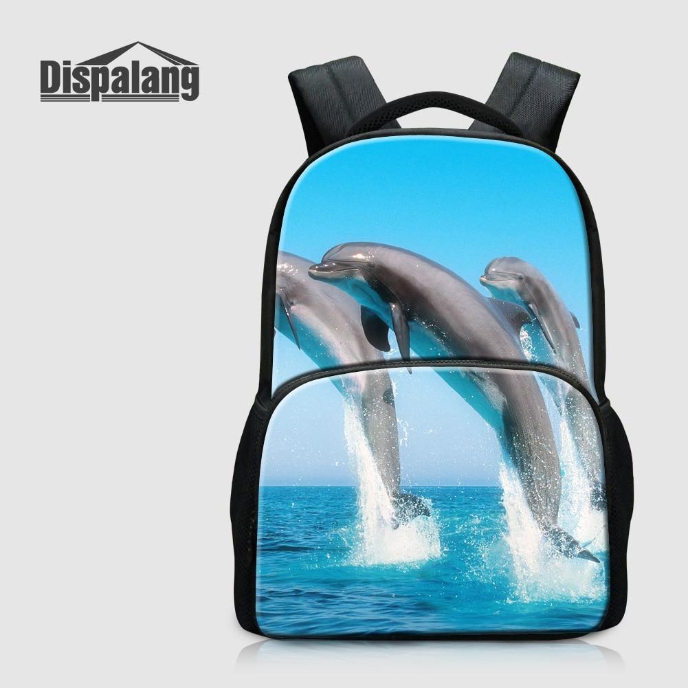 Dispalang Dolphin Printed School Backpack For Teenage Girls Animal Shark Bookbags For High Students Canvas Laptop Bagpack Rugtas