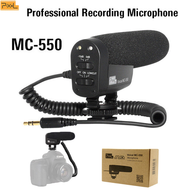 Pixel Professional Stereo Camera Microphone VLOG Photography Interview Digital Recording Microphone for Nikon Canon DSLR Camera