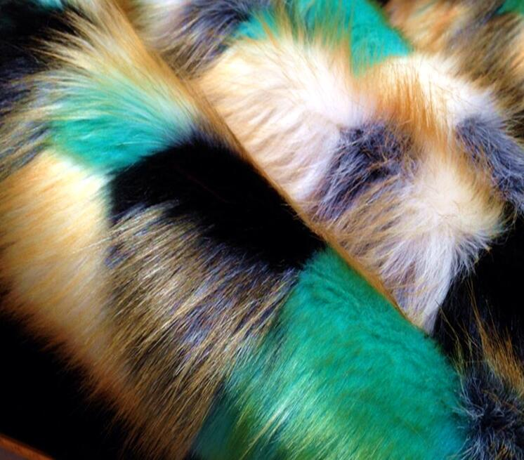 2 style fourrure de renard costume col tapis de sol en peluche laine tissu pour manteau textiles fait à la main bricolage Jacquard épais sequin tissu A338