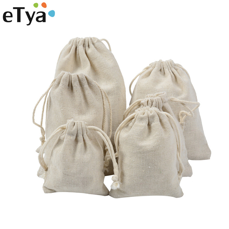 eTya Fashion Handmade Drawstring Bag Travel Drawstring Pouch Dry Cotton Linen Small Cloth Bag Storage Bag Package Christmas Gift candy cane patterned drawstring gift bag storage backpack