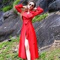 2016 Весной и Sutumn Мода Женщин Ветровка Сплошной Цвет Плюс Размер Средней Длины Верхней Одежды С Длинным Рукавом Дамы Пальто красный