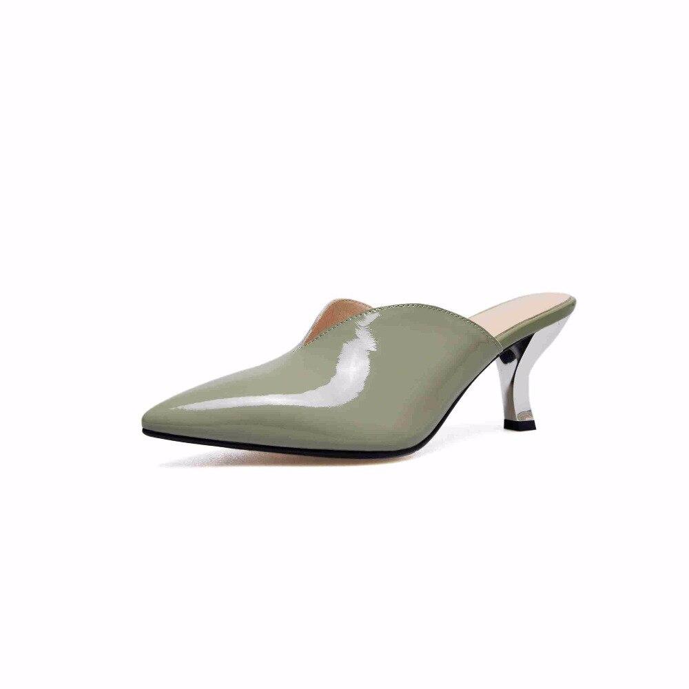 Mode Chaussures noir En Nu Bout 2019 Conception brown Magnifique De D'été Krazing Cuir Véritable vert Beige L25 Profonde Pompes Pointu Peu Luxe Pot Mules Superstar Uqt6C