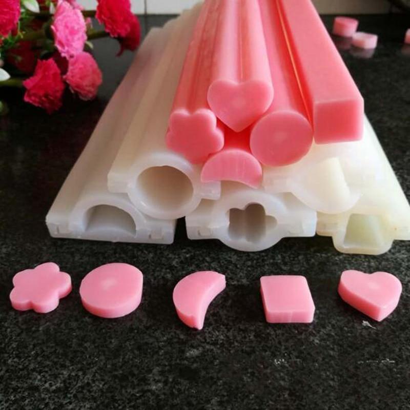 Lange zeep siliconen mallen buis schimmel Siliconen pijp Mould ster bloem maan mallen voor handgemaakte zeep
