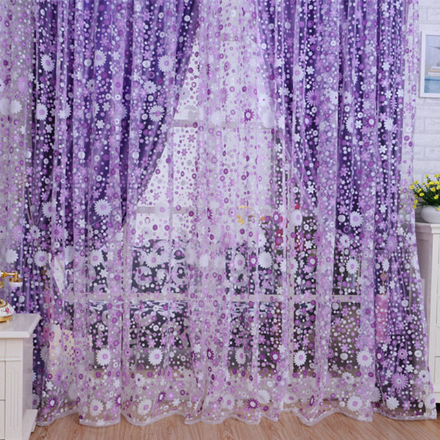 Quneed Decorative Curtains 2018 Print Floral Voile Door Sheer Window Room Curtain Divider 100X200CM Purple