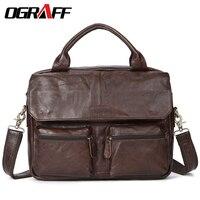 OGRAFF Men Bags Handbag Genuine Leather Briefcases Shoulder Bags Laptop Tote Bag Crossbody Messenger Bags Handbags