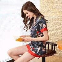 QWEEK Summer Satin Pajama Set Silk Sleepwear Women Satin Home Clothing Pyjama Femme Fashion Sleep & Lounge 2 Pieces Pijama Women