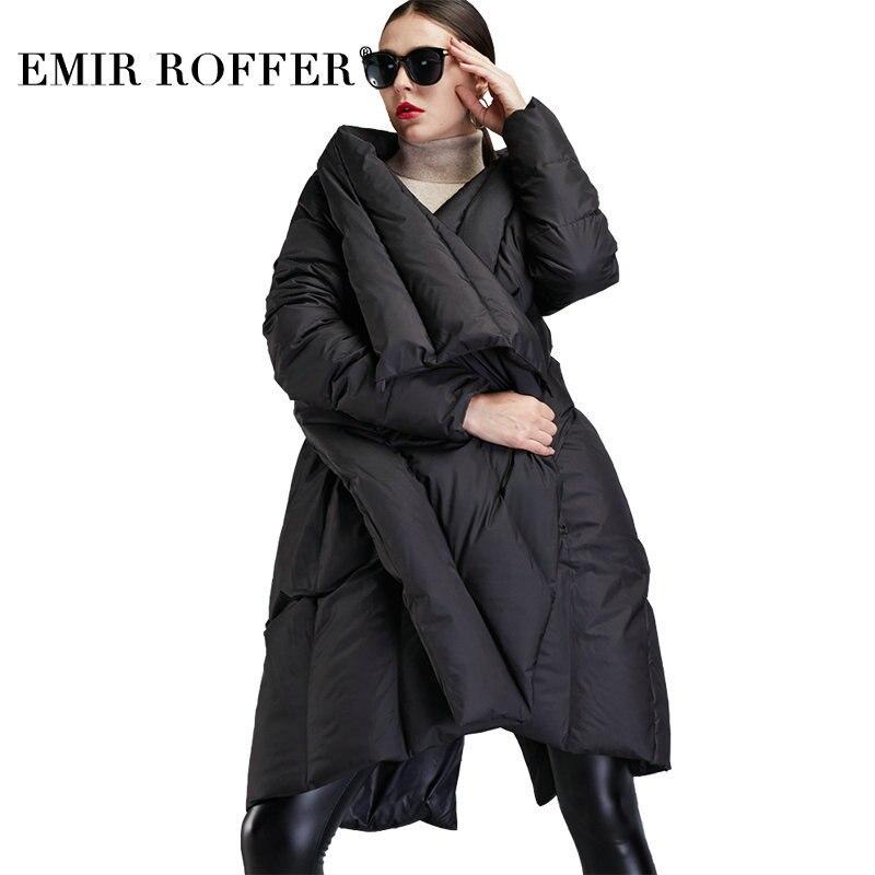 Эмир ROFFER Новинка 2018 года зимняя куртка пуховик для женщин плащ Мода Асимметричный длинный большой размеры теплая утка зимнее пальт