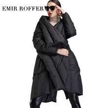 EMIR ROFFER 2018 New Winter Down Jacket Women Cloak Fashion Asymmetric Long Large Size Warm Duck Snow Coat Female Clothing(China)