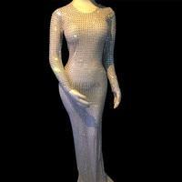 Блестящие стразы на сетчатой основе длинное платье для женщин сценическая одежда сексуальное обтягивающее платье с кристаллами Костюм для