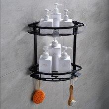Европейский Космический алюминиевый черный стеллаж для ванной комнаты с крючками для полки для ванной комнаты Органайзер Черные Аксессуары для ванной комнаты