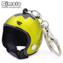 BJMOTO Cool Car Motorcycle Helmet Keychain Key Chains Mini Pendant ring For Harley sportster dyna softail touring