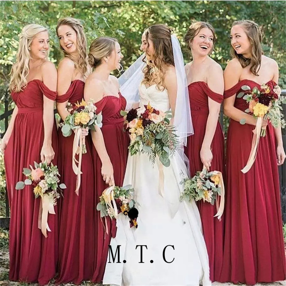 Elegant Long Red Bridesmaid Dresses Strapless Off The Shoulder A Line Elastic Satin Cheap Maid Of Honor Dress Robe De Soiree