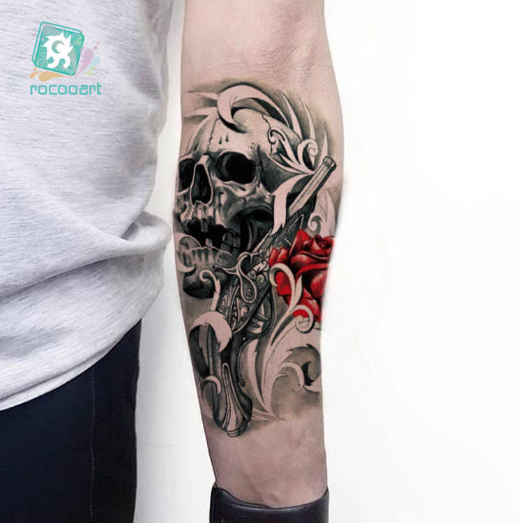 LC-811/ Big Tattoo Sticker Cool Halloween Fake Arm Sleeve Horror Skull Designs Temporary Tattoo For Men Arm.