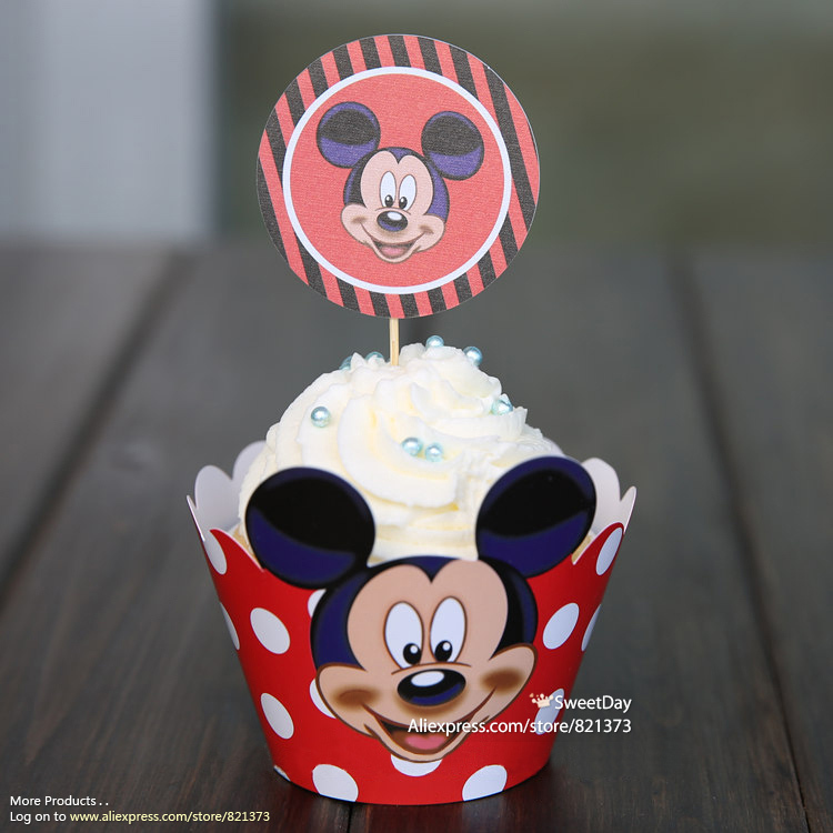 Swell Free Shipping Mickey Mouse Cupcake Toppers Wrappers For Kids Birthday Cards Printable Riciscafe Filternl