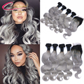 T1b/Grey Human Hair Body Wave Brazilian Virgin Hair Ombre Gray 4 Bundles With Lace Clsoure 1B Gray Closure With Hair Extensions