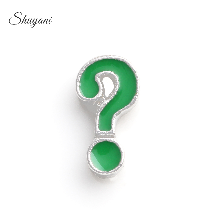 High Quality 20pcs/lot Green Question Mark Charm Fit Cheap Floating Cheap Lockets MF53#(Free Shipping) ...