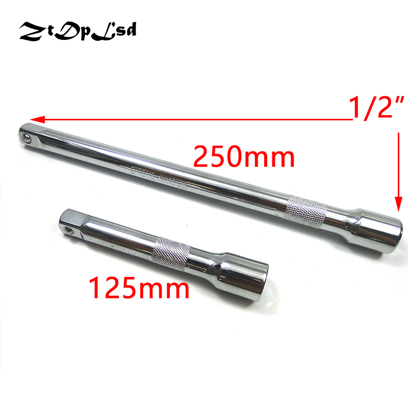 ZtDpLsd 1/2 Sleeve Rod Vanadium Steel Socket Extension Ratchet Wrench Hex Key Adapter Extra Long Hand Tools Driver 125mm 250mm chrome vanadium steel ratchet combination spanner wrench 9mm