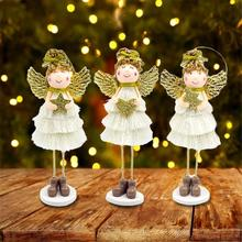 Christmas Doll Standing Angel Wings Cute Plush Wall Decor House Ornaments Pendant Kids Xmas Gifts
