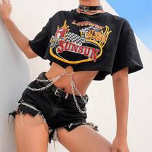 2019 New Punk Korte Mouw T-shirt Vrouwen Zwart Harajuku Katoenen Funny Dames Gedrukt Top met Kettingen Streetwear Zomer
