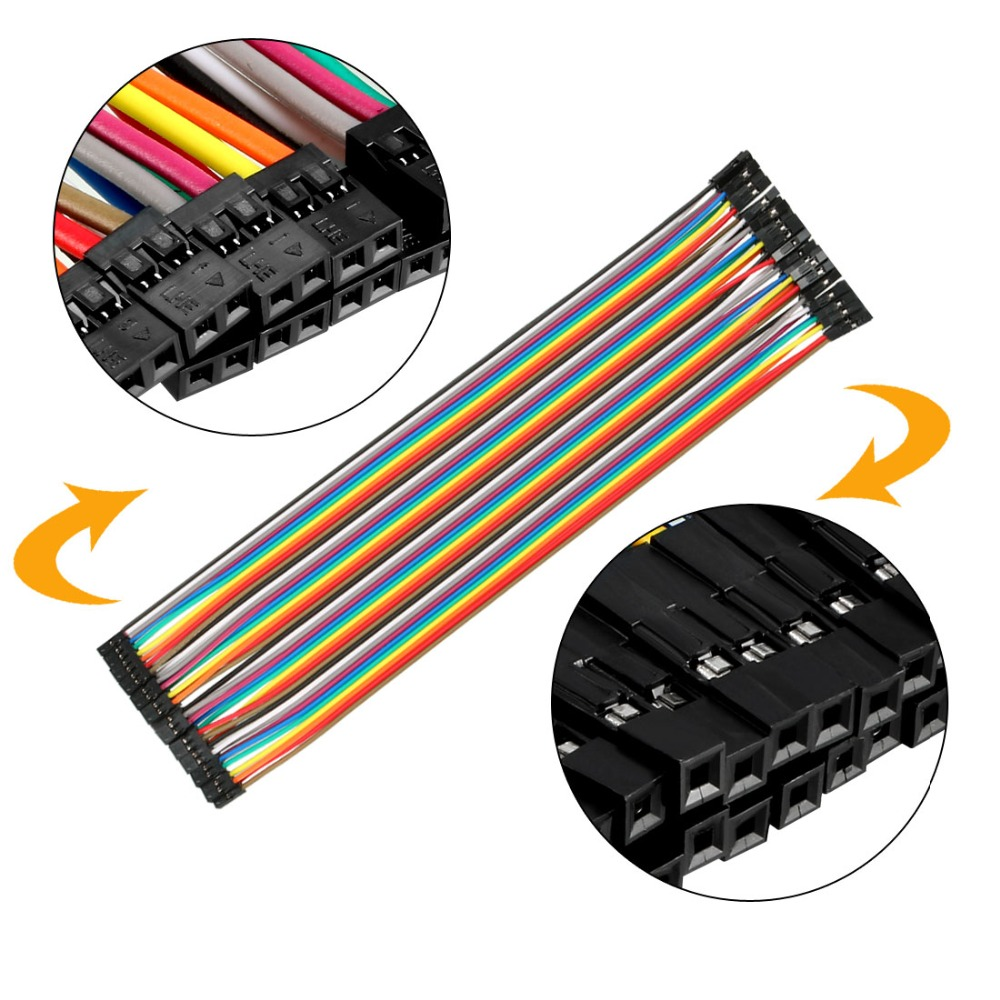 uxcell/® 10PCS 2.54mm Pitch 1P Female Breadboard Double Head Jumper Wire Cable 40cm Length