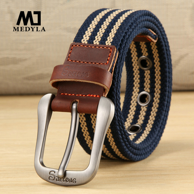 MEDYLA Canvas Belt Pin Buckle Belt Casual Pants Belt Student Youth Military Training Belt Outdoor Plus Long 100cm to 140cm
