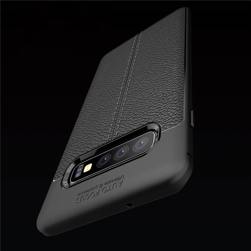 DEVMO Phone Case Compatible with Samsung Galaxy S10 Lite TPU Bionic Leather Gel Rubber Full Body Protection Shockproof Cover Case Drop Protection Blue