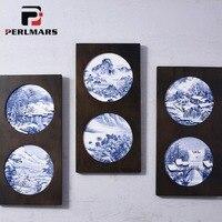 Китайский Стиль ремесла синий и белый фарфор стене висит Блюдо круглое ручная роспись пейзаж керамика пластины Настенный декор украшения