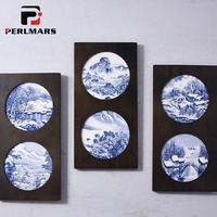 Chinese Style Crafts Blue and White Porcelain Wall Hanging Round Dish Hand Painted Landscape Ceramics Plate Wall Decor Ornaments