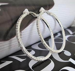 No-Pierced-Earrings Hoop Rhinestone Big-Clip Ear-5.5cm Brincos