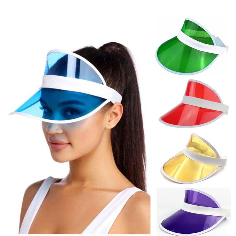 24 pcs lot Summer holiday Neon rave sun shade retro party cap plastic visor sun hat rave festival fancy dress poker headband in Boys Costume Accessories from Novelty Special Use
